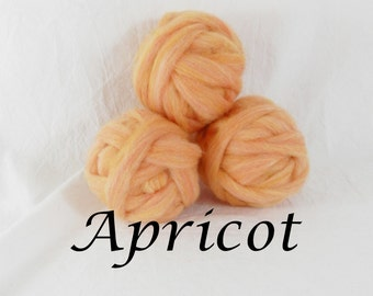 Wool roving in Apricot, 1 ounce wool roving for needle felting, wet felting, spinning, 1 oz wool roving sampler, dyed wool sampler