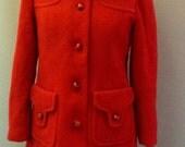 Ladies 1960's Cherry Red Duffle Coat Size UK 10
