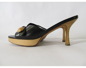 Vintage Chanel Sandals . 1990s Black Leather and Stacked Wood .  Size 37 1/2