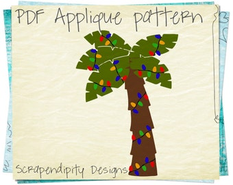 Christmas Applique Template - Palm Tree Applique Pattern / Florida Christmas Applique / Summer Holiday Quilt / Palm Tree with Lights AP325-D
