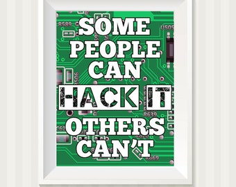 Hack It Computer Circuit Board Art Print Subway Art Typography Wall Decor For Geeks and Computer Lovers