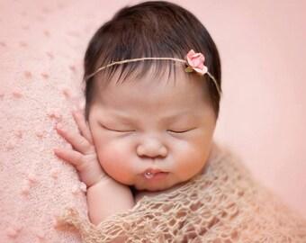 Newborn Headband : The Rose Bud - Newborn Photo Prop -  halo,  flower headband, newborn head band