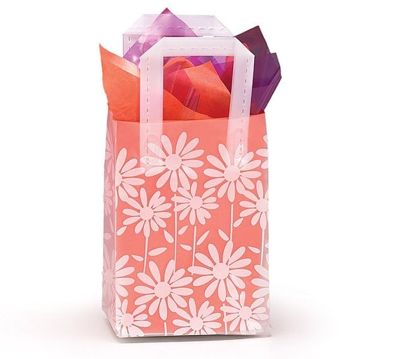 Small plastic white daisies frosted retail gift bags totes