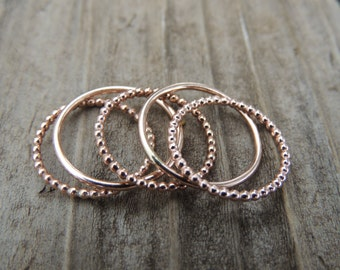 14k Rose Gold Stackable Rings - Rose Gold Band Ball Ring - Rose Gold Eternity Band - Wedding Ring - Gold Thumb Stack Ring - Stacked Rings