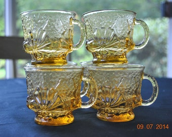 6 Anchor Hocking Rainflower Amber Cups
