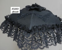 VICTORIAN PARASOL Umbrella in Black Dupioni Faux Silk or Black Satin with Lavish Wide Black Lace Ruffle and Embroidered Appliques Mourning