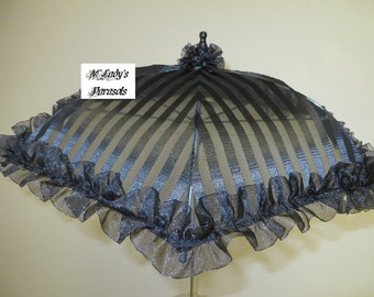 LAST ONE VICTORIAN Parasol Umbrella in Elegant Satin Stripe Burnout Fabric Embellished and Organza Ruffle Mourning Funeral Steampunk Bridal
