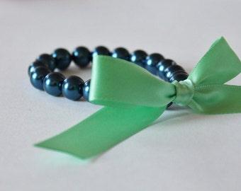 Navy Blue Pearl and Mint Green Ribbon Bracelet