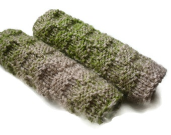 Hand Knitted Eco Friendly Reusable set of 2 Wash cloth or Hand Towel Green Beige