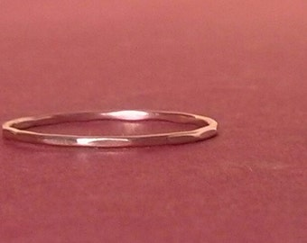 Thin Gold Ring/Size 5 Ring/Rose Gold Ring/Stacking/Rose Gold Band/ Thin Pink Gold Ring/ Teeny Weenie Slightly Beaten Ring *Rose Gold Filled*