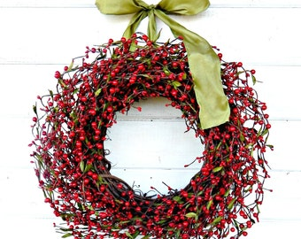Christmas Wreath-Christmas Door Wreaths-Holiday Wreath-Winter Wreath-Red Berry Wreath-Farmhouse Wreath-Holiday Decor-Door Wreath-Home Decor