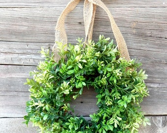 Mini Boxwood Wreath-Mini Wreath-Scented Window Wreath-Country Cottage Wreath-Kitchen Decor-Artifical Boxwood Wreath-Wall Hanging-Wall Decor-
