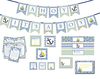 Nautical Boy Baby Shower Decorations Package Two INSTANT DOWNLOAD DIY - Ahoy its a Boy Baby Shower - Shower Decorations