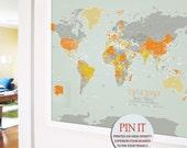 Large FRAMED World map, 30X45 Inches, World Travel, Honeymoon, Vacation Art, Travel Map, Push Pin Travel