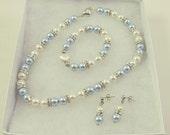 Flower Girl Jewelry Set White with Light Blue Swarovski Pearls Bridal Jewelry Set