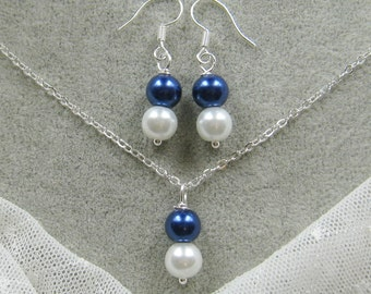 Twin pearl necklace and earing SET, bridesmaids necklace, wedding jewelry - W038 (Choose your pearl colour)