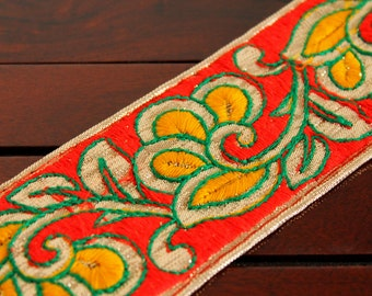1 Yd Red Trim-Multi Color Thread Embroidered on Golden Fabric Trim-Red Silk Sari Border Trim-Crazy Quilt Red Silk Fabric Ribbon By The Yard