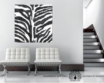 WILD no.2. Black & white art. Zebra skin abstract art. Zebra decor. Black glitter. Black and white wall art. Glamorous art. Lydia Gee