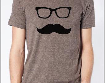 Mustache Wayfarer Unisex T Shirt American Apparel Tee XS, S, M, L, XL  9 COLORS