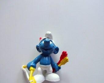 Vintage Archer Smurf Miniature PVC Toy 1978
