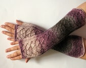 SALE Fingerless Gloves Gray Black Purple Pink Arm Warmers Knit Soft