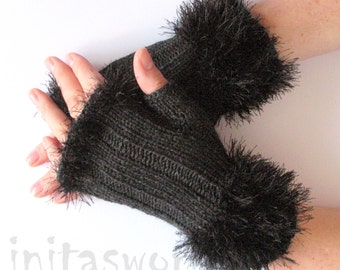 Fingerless Gloves Dark Gray Arm Warmers Mittens 7 inch Knit, Wool Acrylic