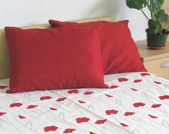 "Bed Linen Sheet Eco friendly Black Red poppy 87"" x 59"""