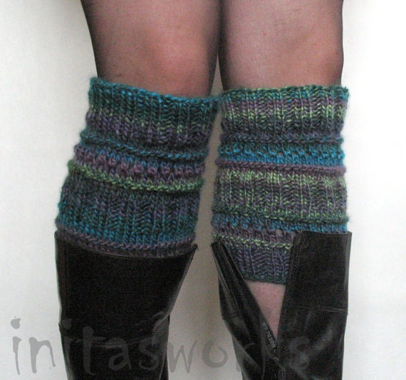 Boot Cuff Boot Toppers Leg Warmers Striped Violet Purple Blue Burgundy Green Gray Boot Socks Knit Legwarmers Cable Knitted