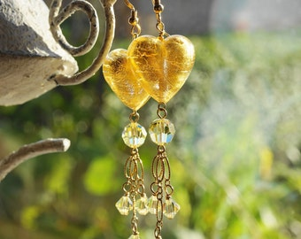 Earrings Dangle  Gold Murano Glass Valentine Heart  Swarovski Crystal Yellow