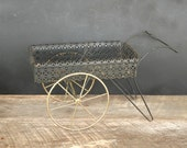 Vintage Decorative Cart Black Mesh Flower