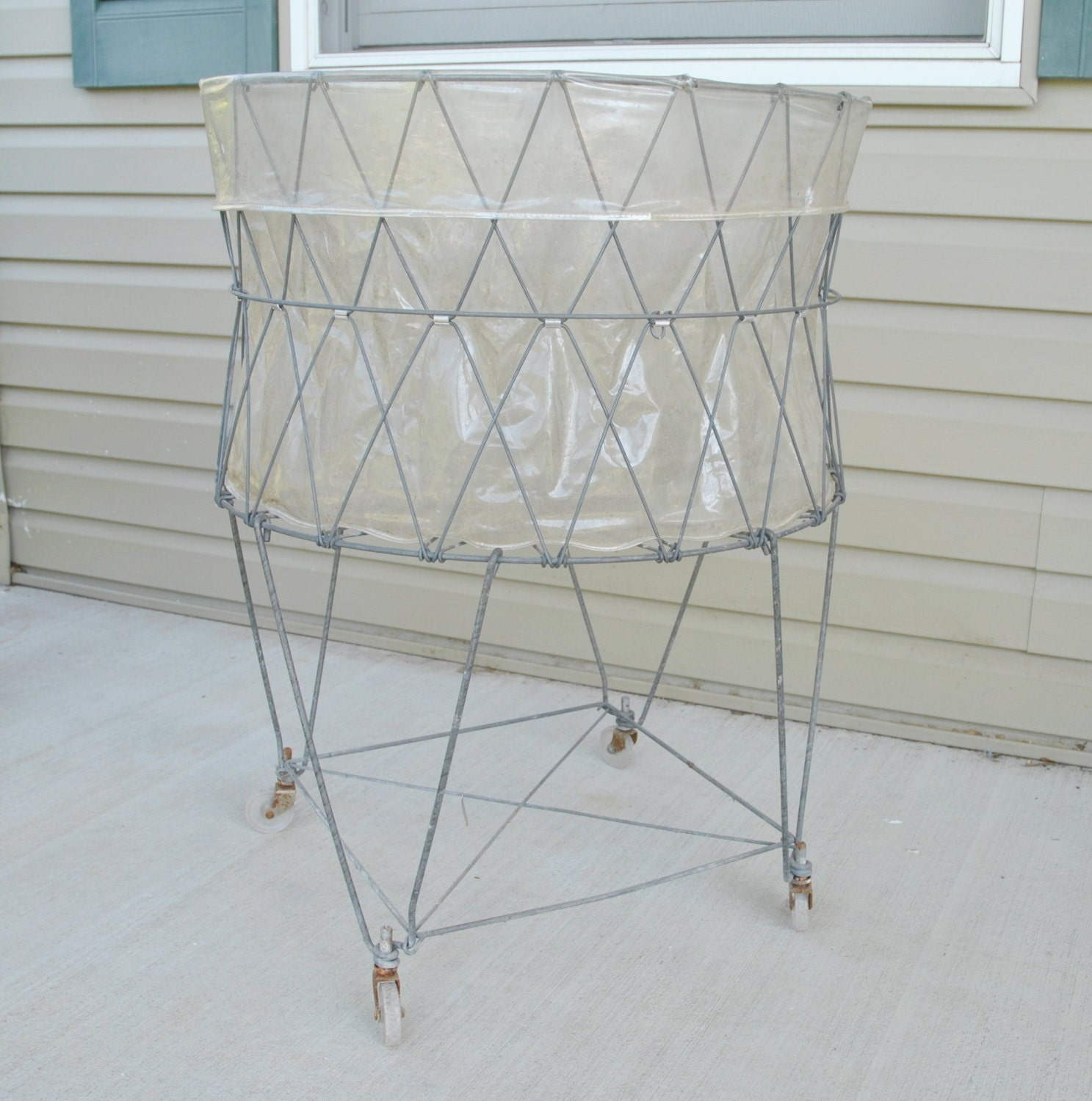 Vintage Allied Wire Collapsible Laundry Basket Cart On Wheels