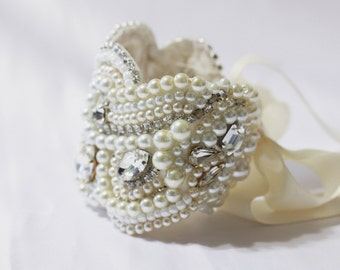 Bridal Cuff - Pearl Rhinestone Cuff with Ribbon Tie or Sterling Silver Clasp Your Choice, Original Cuff Breacelet