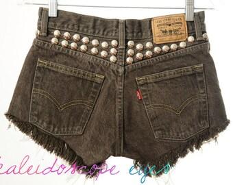 Vintage Levis brown High Waist Mid Rise Denim STUDDED Cut Off Shorts XS