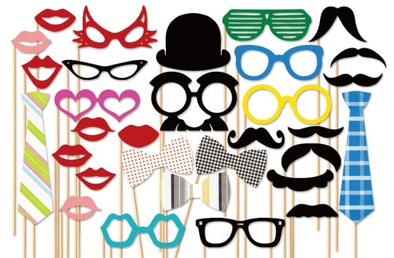 Wedding Photo Booth Props - 31 Piece Photo Props Set - Photobooth Props