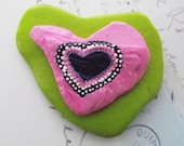 Hand Painted Heart Shaped Rock Paperweight