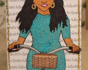 "Glittery Mindy Project Card- ""I'm Sandra Bullock!"""