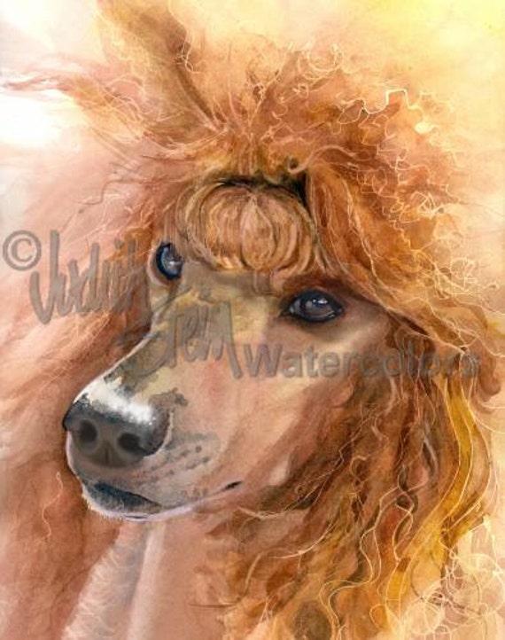 "Standard Poodle, Apricot, Cinamon, AKC Non Sporting, Pet Portrait Dog Art Watercolor Painting Print, Wall Art, Home Decor, ""Mouin Rouge"""