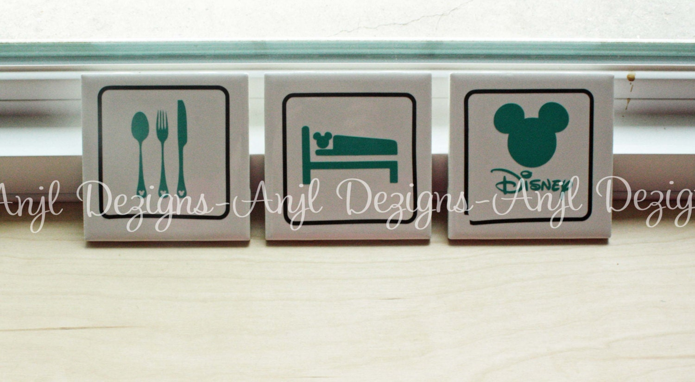 eat sleep live disney home decor 4x4 tiles by dewthis on etsy. Black Bedroom Furniture Sets. Home Design Ideas