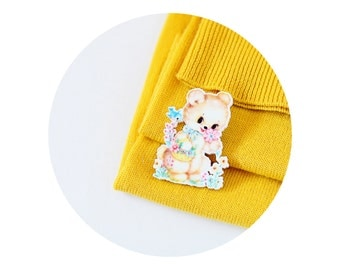 Cute Bear, Acrylic Brooch, Pin