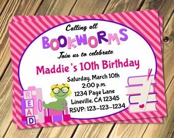 Bookworm Birthday Invitation Print Your Own