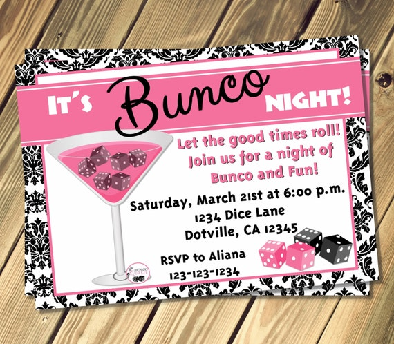 Bunco Night Invitation Print Your Own Etsy