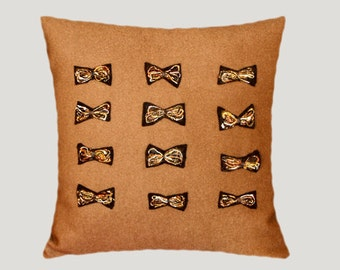 """Decorative Pillow case, Light Brown wool fabric with felted Applique Bows Throw pillow case, fits 18"""" x 18"""" insert, Toss pillow case"""