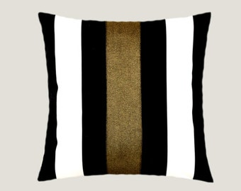"Decorative Pillow Case, Cotton Black-White Throw pillow case with Dark Gold color accent 12, 16""x16"",  Cushion case, Toss pillow case."