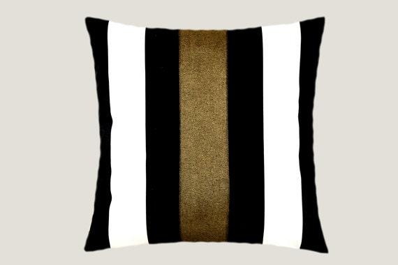 "Decorative Pillow Case, Cotton Black-White Throw pillow case with Dark Gold color accent 12, 16""x16"",  Cushion case, Toss pillow case."