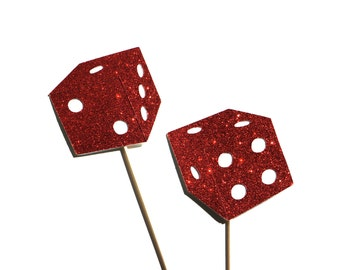 Photo Booth Props - Pair of Dice - Red Glitter Bunko Dice - Set of 2 Props with GLITTER - Ruby Red Glitter Glitter