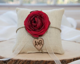 Red Ranunculus flower custom ivory burlap ring bearer pillow  shabby chic with engraved heart  initials... many more colors available
