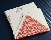 Gracias Red and Cream Chevron Note Card with Lined Envelope - Set of 8