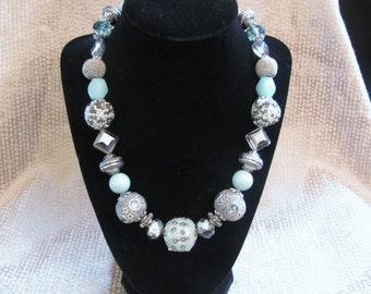 Gray and Seafoam Blue Chunky Beaded Necklace