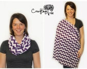 Nursing Scarf / Nursing Cover / Breastfeeding Cover / Infinity Scarf - Purple and White Chevron - Raw Edge