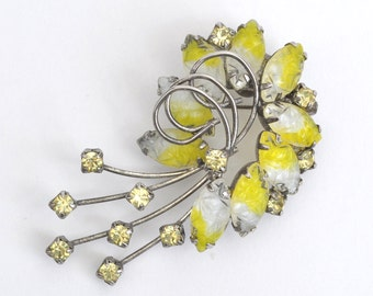 Vintage Yellow and Clear Rhinestone Brooch